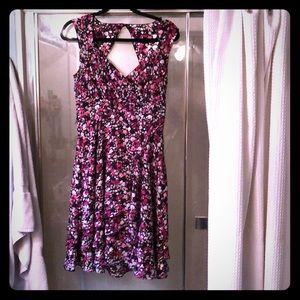 Formal silk floral dress.  Ruffles and belt